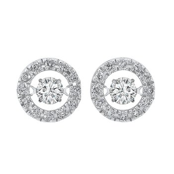 14K White Gold Rhythm of Love Halo Prong Diamond Earrings  3/4CT