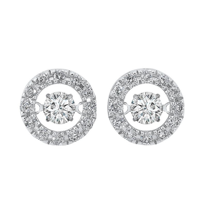 Gems One 14K White Gold Rhythm of Love Halo Prong Diamond Earrings  3/4CT