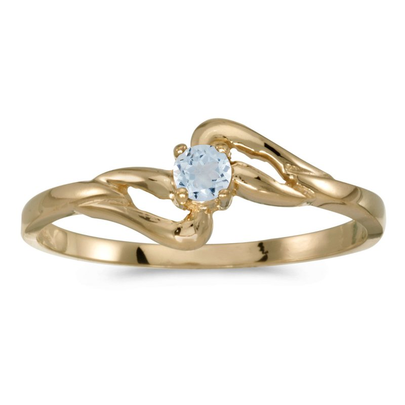 Color Merchants 10k Yellow Gold Round Aquamarine Ring