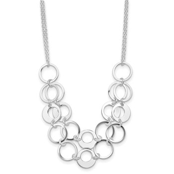 Sterling Silver Textured 2 Strand Circles w/2 in ext Necklace
