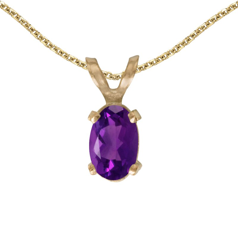 Color Merchants 14k Yellow Gold Oval Amethyst Pendant