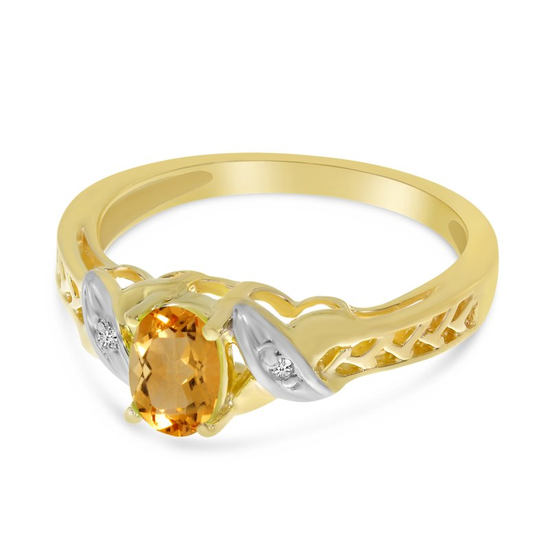 14k Yellow Gold Oval Citrine And Diamond Ring