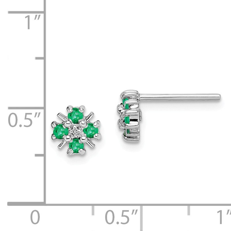 Quality Gold Sterling Silver Rhodium Emerald & Diamond Post Earrings