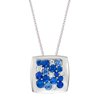 White Gold Sapphire & Diamond 15mm Square Tango Pendant