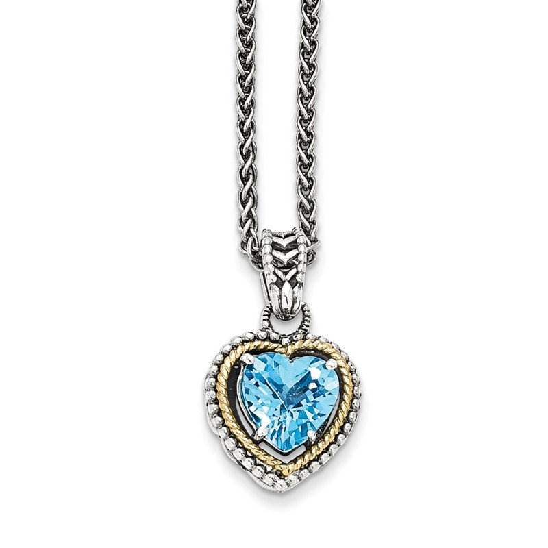 Shey Couture Sterling Silver w/14k Antiqued Blue Topaz Heart Necklace