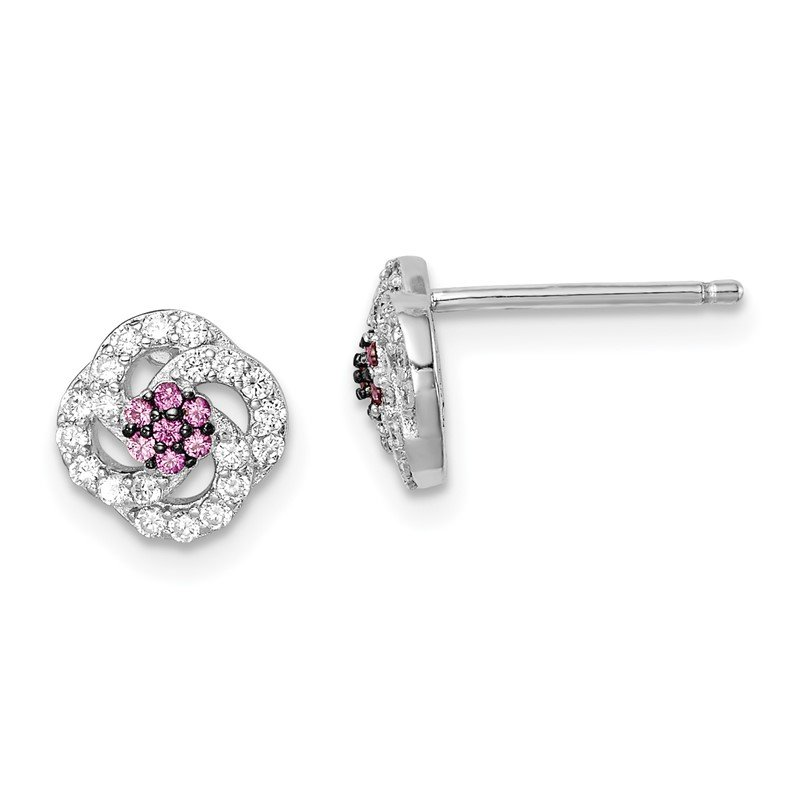 Quality Gold Sterling Silver Blk Rhod-plated Dark Pink and White CZ Earrings
