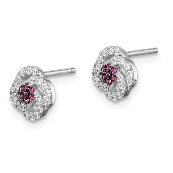 Sterling Silver Blk Rhod-plated Dark Pink and White CZ Earrings