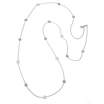 Cento And Blue Sapphire Station Necklace
