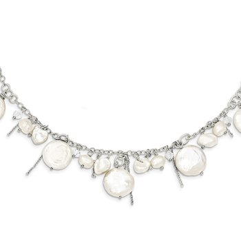 Sterling Silver FW Cultured Coin Pearl and Crystal Necklace