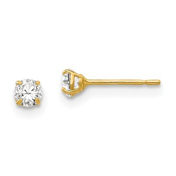 14k 3mm Round CZ Post Earrings