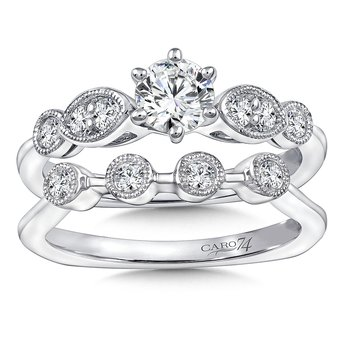 Inspired Vintage Collection Six-Prong Engagement Ring With Diamond Side Stones in 14K White Gold with Platinum Head (1/2ct. tw.)