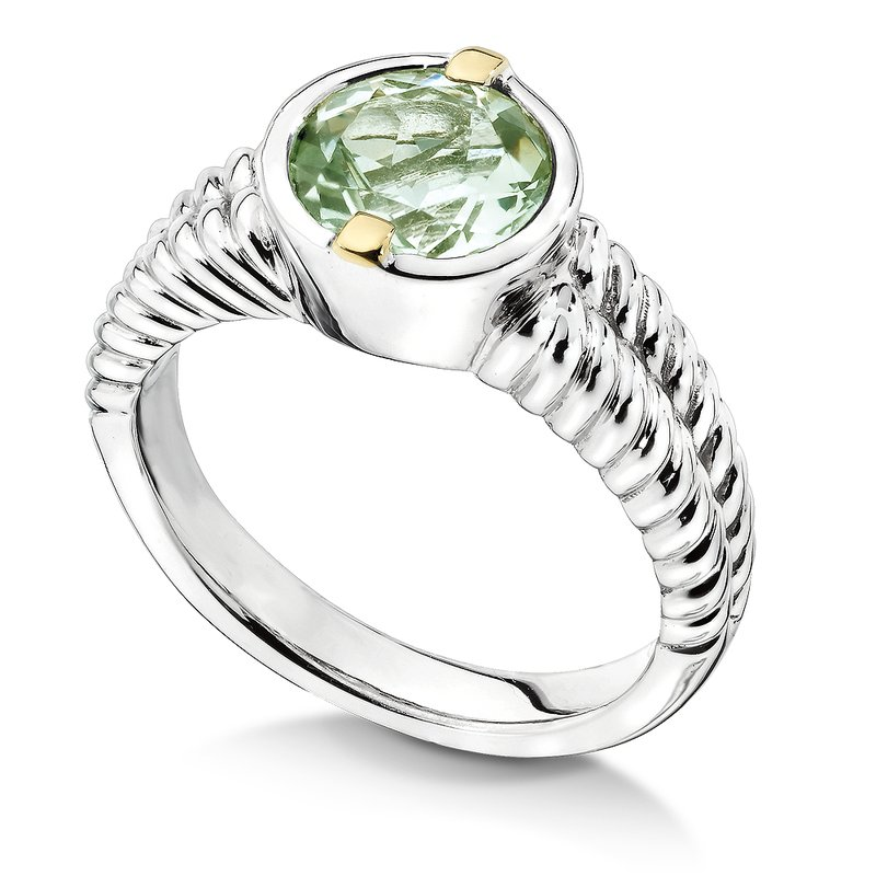 Colore Sg Sterling Silver, 18K Gold and Green Amethyst Ring