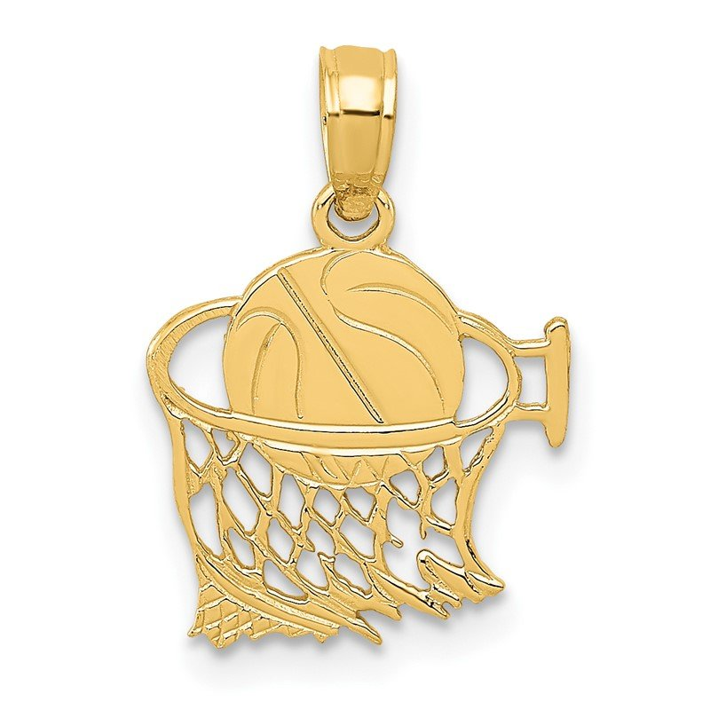 Quality Gold 14k Basketball in Net Pendant