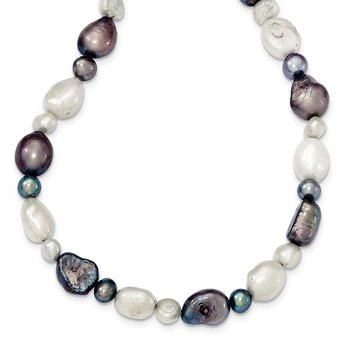 Sterling Silver White and Grey FW Cultured Pearl Necklace