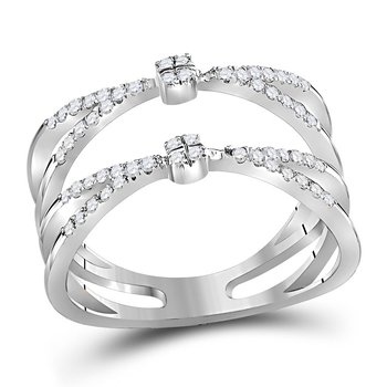 10kt White Gold Womens Round Diamond Pinched Strand Fashion Band Ring 1/3 Cttw