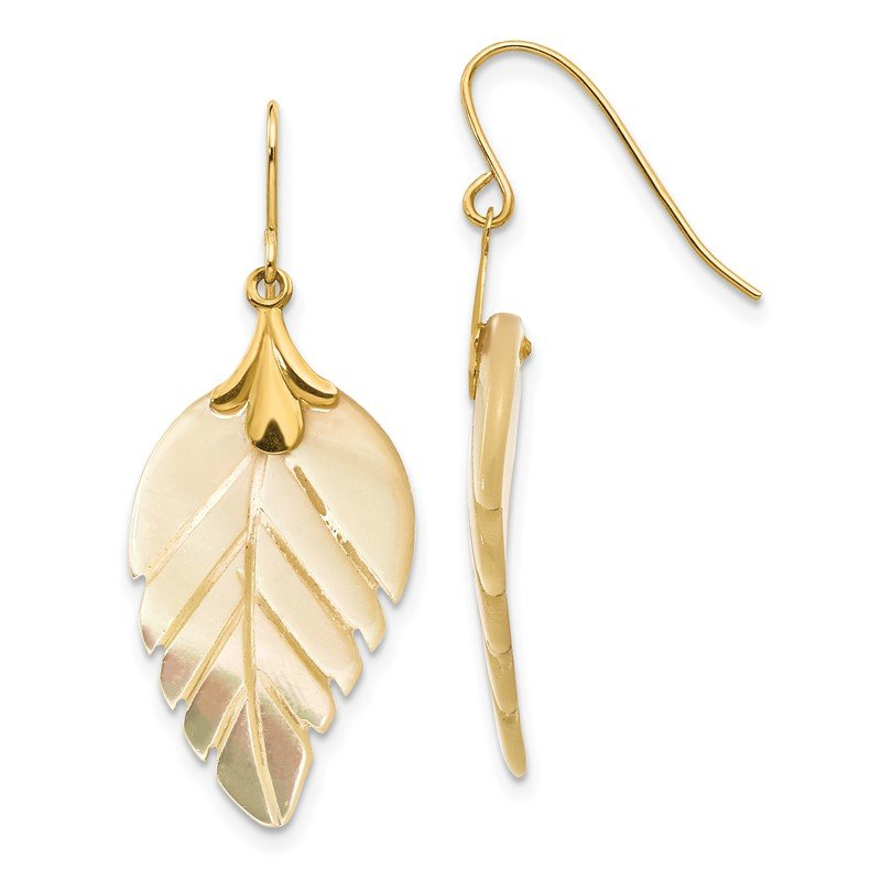 Quality Gold 14k Madi K Mother of Pearl Leaf Dangle Earrings