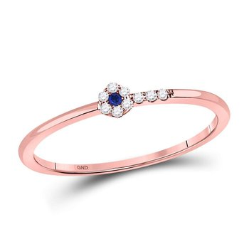 10kt Rose Gold Womens Round Blue Sapphire Diamond Stackable Band Ring 1/12 Cttw