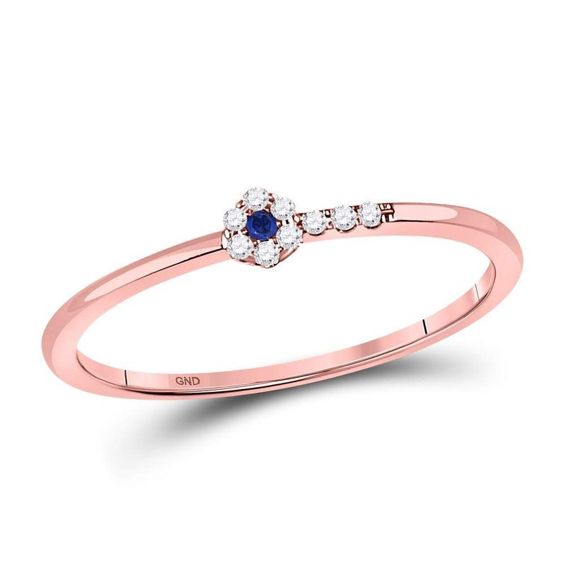Gold-N-Diamonds, Inc. (Atlanta) 10kt Rose Gold Womens Round Blue Sapphire Diamond Stackable Band Ring 1/12 Cttw