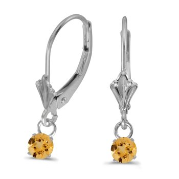 10k White Gold 5mm Round Genuine Citrine Lever-back Earrings