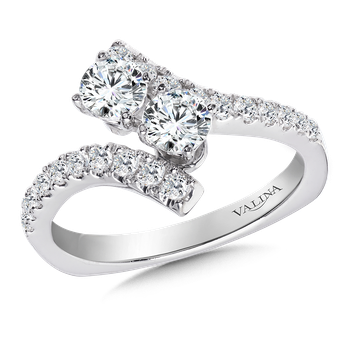 Two-Stone Diamond Engagement Ring Moutning in 14K White Gold (.96 ct. tw.)