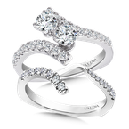 Valina Bridals Two-Stone Diamond Engagement Ring Moutning in 14K White Gold (.96 ct. tw.)