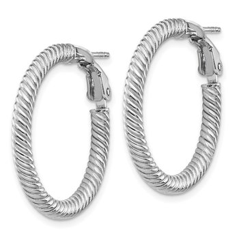 14k 3x20mm White Gold Twisted Round Omega Back Hoop Earrings