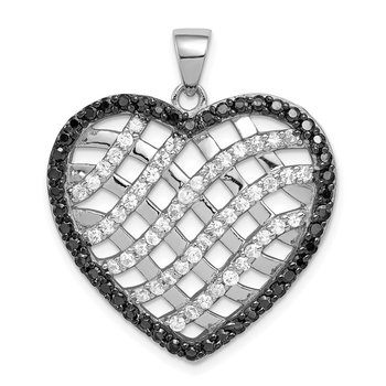 Sterling Silver Black & White CZ Lattice Heart Pendant