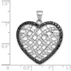 Quality Gold Sterling Silver Black & White CZ Lattice Heart Pendant
