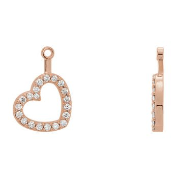 14K Rose 1/5 CTW Diamond Heart Earring Jackets