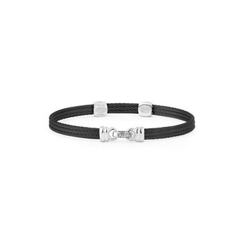 Black Cable Classic Stackable Bracelet with Double Square Station set in 18kt White Gold