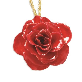 Lacquer Dipped Red Rose 20 inch Gold-tone Necklace