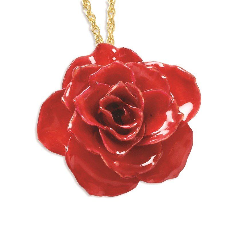 Quality Gold Lacquer Dipped Red Rose w/ Gold-tone Chain