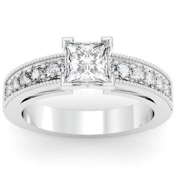 Milgrain & Pave Set Engagement Ring