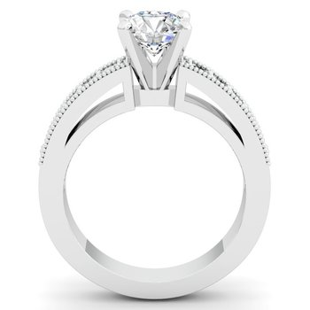 Milgrain & Pave Set Engagement Ring