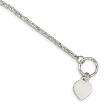 Sterling Silver Heart Toggle Bracelet