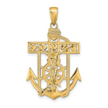 14K Polished Textured Mariners Crucifix Pendant