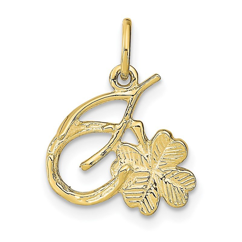 Quality Gold 10K Solid Horseshoe Wishbone and Shamrock Charm