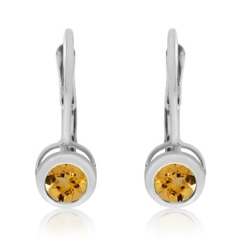 14k White Gold 4mm Citrine Bezel Leverback Earrings