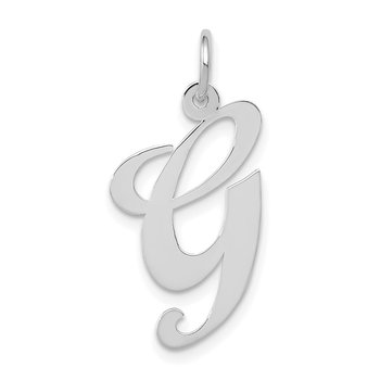 14k White Gold Large Fancy Script Letter G Initial Charm