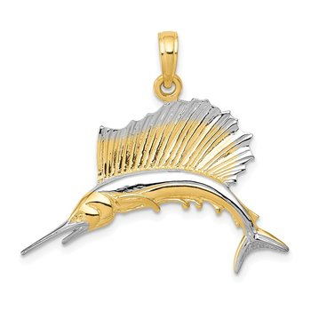 14K w/Rhodium Sailfish Pendant