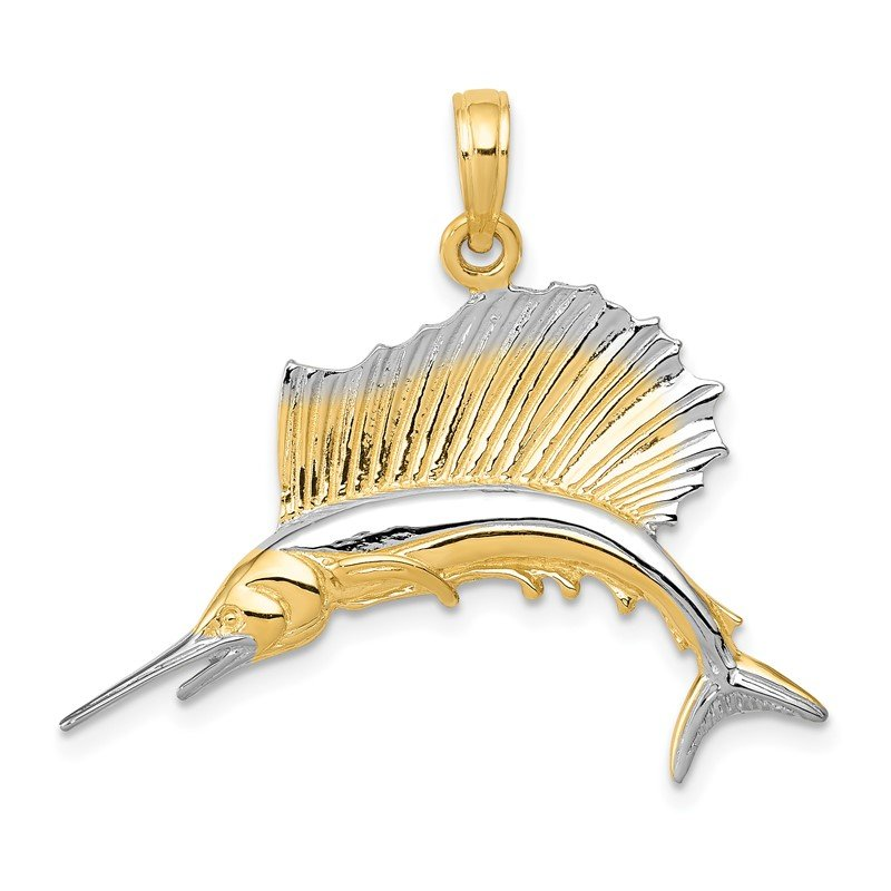 Quality Gold 14K w/Rhodium Sailfish Pendant