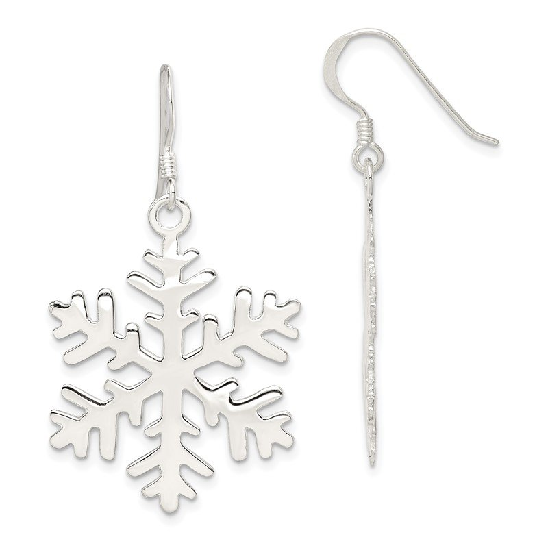 Quality Gold Sterling Silver Snowflake Dangle Earrings