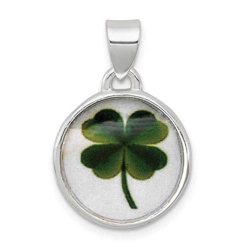 Fine Jewelry by JBD Sterling Silver 4 Leaf Clover Clear Enamel Pendant