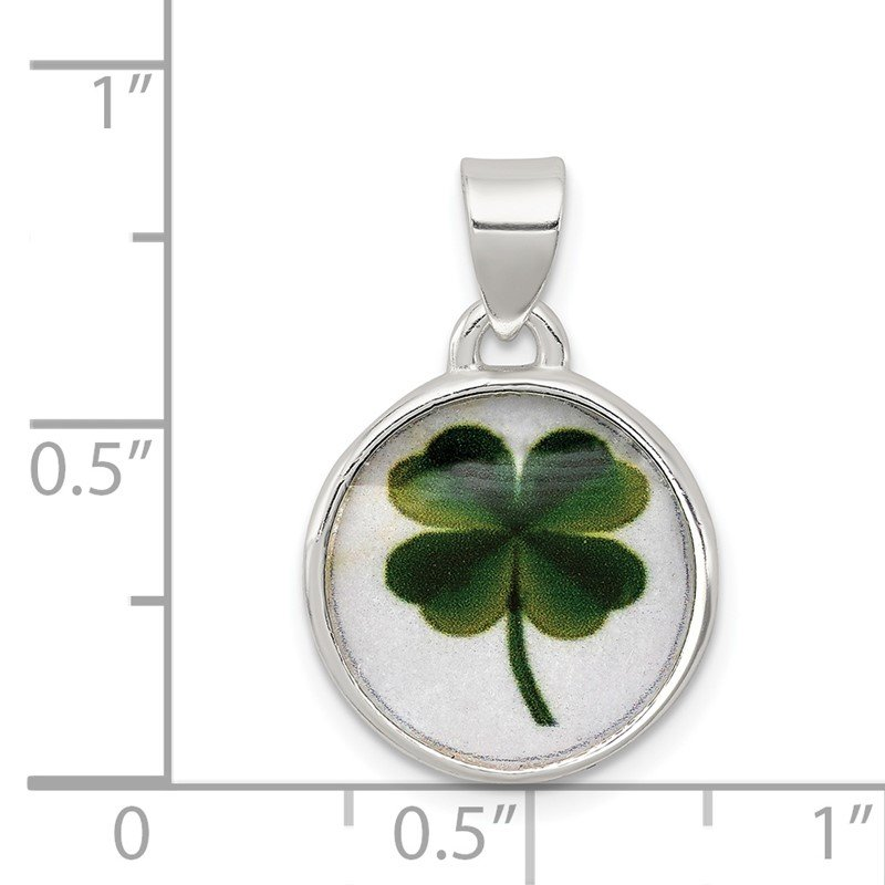 Quality Gold Sterling Silver 4 Leaf Clover Clear Enamel Pendant