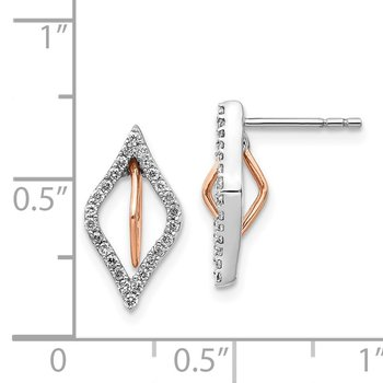 14k White/Rose Gold Diamond Earrings