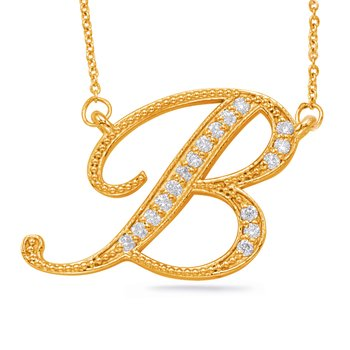 Yellow Gold Diamond Initial B Pendant