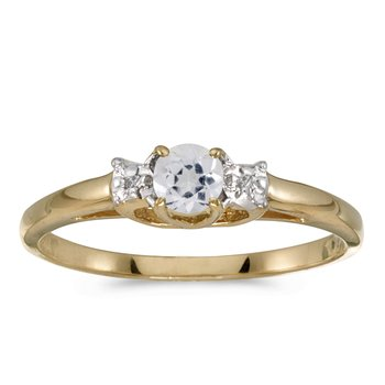 14k Yellow Gold Round White Topaz And Diamond Ring