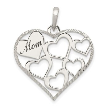 Sterling Silver Polished & Textured 'Mom' Engraved Heart Pendant