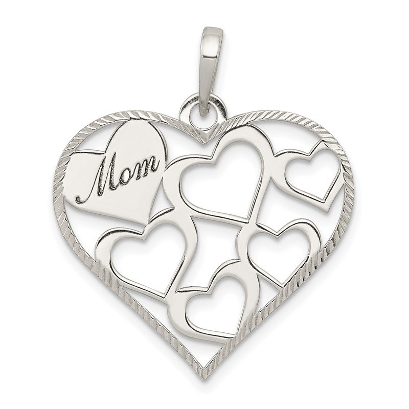 Quality Gold Sterling Silver Polished & Textured 'Mom' Engraved Heart Pendant