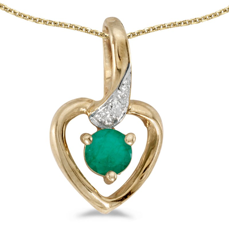 Color Merchants 14k Yellow Gold Round Emerald And Diamond Heart Pendant